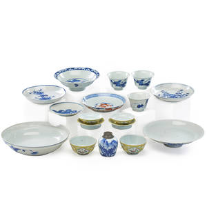 Chinese porcelain tableware sixteen including teabowls saucers dishes and tea caddy late qing dynasty tea caddy 3 12