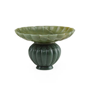 Mughal style jade vase handcarved leaf design in bulbous form with flaring rim 20th c 4 x 6