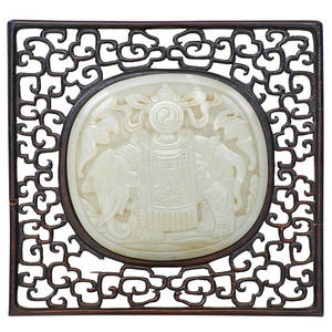Chinese celadon jade plaque handcarved relief scene mounted on hardwood frame 19th20th c 7 18 x 6 14 sight