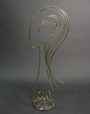 Curtis Jere Modern Brass Floor Sculpture of Woman