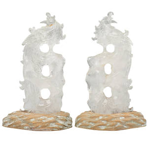Pair of rock crystal figures phoenix with carved hardwood stand 13 12