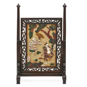 Chinese jade scholars table screen inset with soapstone mother of pearl and bone figures beneath trees late 19thearly 20th c 11 x 7