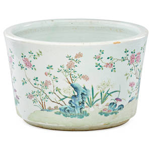 Chinese famille rose porcelain basin blossoming floral and rockwork garden decoration late 18thearly 19th c 9 34 x 15