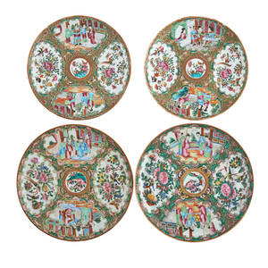 Chinese rose medallion porcelain plates four figural and floral scenes on a gilded green ground 19th20th c largest 9 12