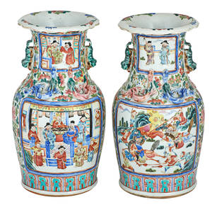 Pair of chinese famille verte porcelain vases applied chilong and foo dog decoration painted with flowers and birds surrounding four figural scenes republic period 13 34