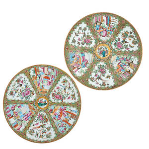 Chinese rose medallian porcelain chargers two narrative and floral design on gilded green ground 19th20th c larger 13 12 dia