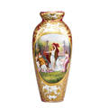 Royal vienna porcelain vase handpainted reserve of classical maidens and swan on cranberry ground with gilded foliate highlights late 19th c beehive mark 19 12 x 8