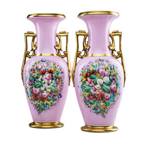 Pair of paris porcelain vases handpainted floral cornucopias on rose ground with gilt handles and trim 19th c 20