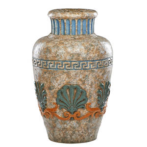 Pair of etruscan revival jardinieres glazed earthenware with greek key relief banding and stylized palms 20th c 26 x 13