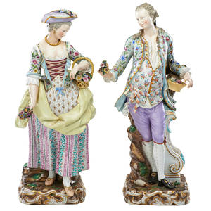 Pair of meissen porcelain figures male and female companions late 19th c marked taller 18 34