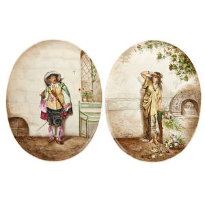 Pair of continental porcelain plaques man in courtly dress and woman with flowers 1892 both signed jeanne leothand and dated 15 12 x 12 18 oval