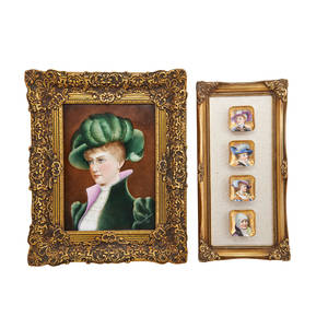 French porcelain plaques two one portrait of a young woman in 19th c dress 1893 together with porcelain portrait butter dishes framed portrait signed monachesi and dated plaque 13 x 11