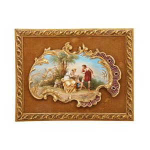 Royal vienna porcelain plaque depicting cupid et cephisa ca 1900 framed artist signed kaufmann and titled beehive mark plaque 9 14 x 12 12 irregular