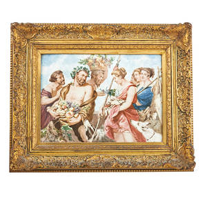 Italian porcelain plaque handpainted classical genre scene in elaborate gilded frame 19th c 11 12 x 15 9 sight
