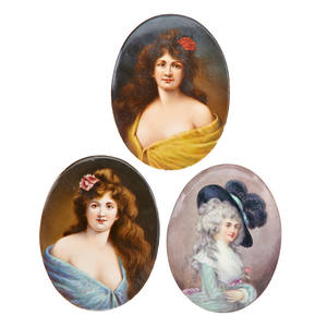German porcelain plaques three each depicting portraits of maidens ca 1900 various marks plaques 5 18 x 3 34