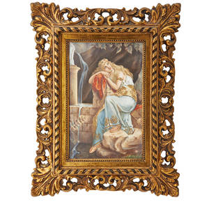 French porcelain tile portrait of classical woman jeus de charme ca 1900 framed signed illegibly and titled 12 12 x 8