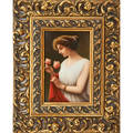 German porcelain plaque young woman in classical dress with roses ca 1900 framed artist signed wagner plaque 9 x 6