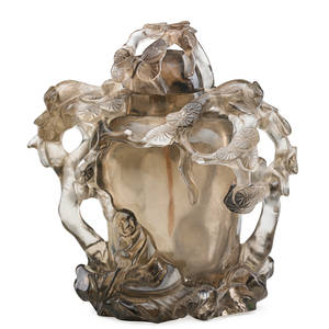 Chinese smokey rock crystal snuff bottle carved foliate and bamboo openwork late 19th20th c 4