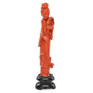 Chinese coral figure maiden holding fly whisk with ebonized hardwood stand 19th c 6