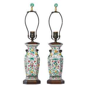 Pair of chinese export porcelain lamps famille rose design in vase form with jade finial on wooden base 20th c 21 including finial