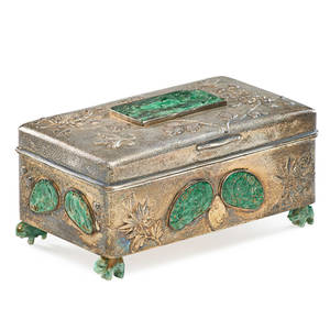 Chinese export jade inset silver cigarette box decorated with chrysanthemums raised on elephant form feet 20th c 3 x 6 14 x 3 12