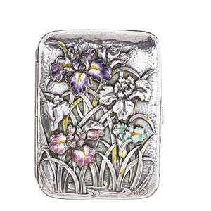 Chinese export silver cigarette case enameled embossed iris flowers on stippled ground late 19th c marked 3 12 x 2 12