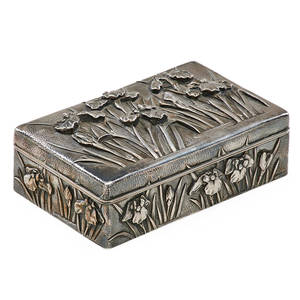 Chinese export silver box embossed flowering iris plants and water above stippled ground with hinged top 18751925 marked 2 14 x 6 14