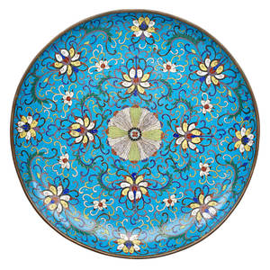 Chinese cloisonne charger scrolling lotus design late 18thearly 19th c 15 34
