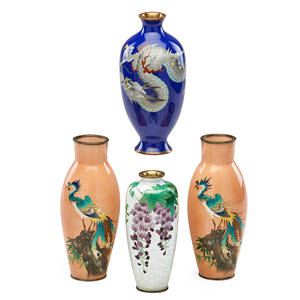 Japanese cloisonne vases four one pair depicting polychrome phoenix one with dragon design and one with grape and vine motif 19th20th c tallest 7 14