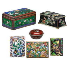 Chinese and japanese cloisonne boxes six five various lidded boxes and one double inkwell with floral designs 19th20th c largest 3 x 5 12 x 2