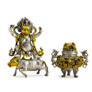 Tibetan silvered bronze objects two sinotibetian buddhist yama dharmarja atop bull with gilded highlights and covered censer with dragon figural handles early 20th c censer marked yama 11 x 7