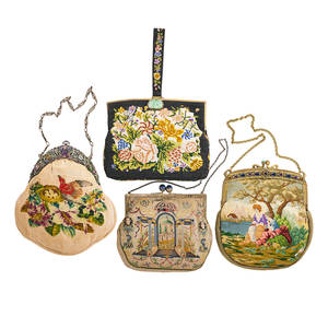 Four antique embroidered handbags multigem hardstone nephrite or carved glass embellished frames one silver one stamped sterling made in austria needlepoint or petit point neoclassical flor