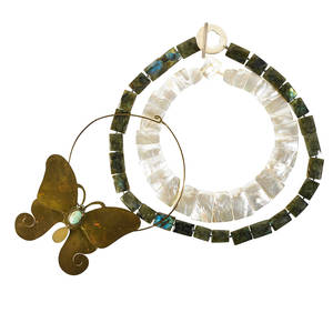 Three hardstone studio craft or mother of pearl necklaces brass butterfly with aventurine abdomen studio craft necklace unsigned square faceted labradorite beads graduated mother of pearl collar n