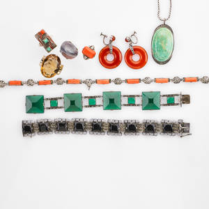 German and similar secessionist silver jewelry ten pieces seven with marcasite includes coral ring size 6 coral necklace 16 chrysoprase link bracelet 7 onyx and enamel bracelet 7 12 amaz