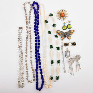 Collection of bijoux and hardstone jewelry fourteen pieces includes 14k silver and gilt metal palermo onyx and crystal brooch 14k and sterling rock crystal and sterling pendant silver and crystal