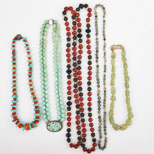 Six hardstone glass coral or gold bead necklaces stylized turquoise bead necklace with sterling silver turquoise pendant faceted moss agate beads reinforced turquoise and coral bead necklace aga