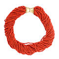Coral glass bead 14k yellow gold torsade necklace 40 strands of petite cylindrical glass beads of a dark redorange hue joined by substantial bead edge 14k yellow gold closure ca 1990 marked 14k