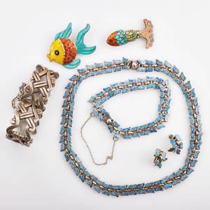 Mexican silver jewelry includes margot de taxco seven pieces speckled blue enameled silver necklace bracelet and earring suite marked sterling 925 ballesteros silver link bracelet stamped wi