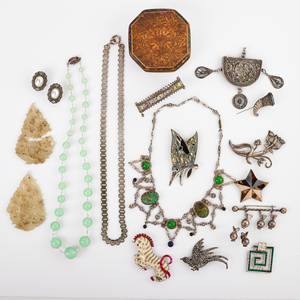 Collection of silver hardstone  costume jewelry nineteen pieces taxco mexico floral brooch two mexican inlaid star and butterfly brooches silver toned metal and hardstone festoon necklace unma