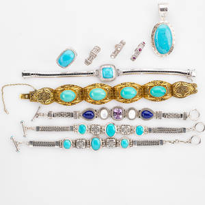Ten pieces of silver jewelry five link bracelets four rings a pendant 19302010 art deco chinese gilt silver and turquoise link bracelet three piece assembled suite of chinese silver jewelry wit