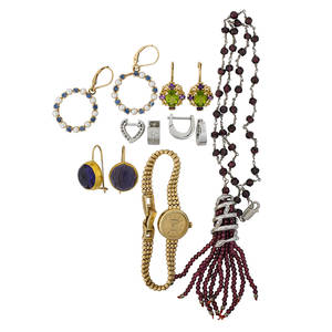 Collection of gold silver gemset jewelry watch twelve pieces garnet bead and sterling silver necklace with tassel drop diamond accents 15 34 two pairs of 14k wg huggies one with diamonds