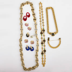 Collection of costume jewelry fourteen pieces includes oval black and white enameled link long chain two gold tone multi gem and ancient coin replica necklaces kenneth jay lane earrings with inte