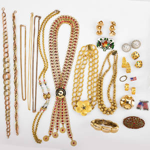 Collection of costume jewelry twentyfour pieces includes three gold filled link or bead necklaces judith jack gold tone multi gem and marcasite ear clips flower head necklace napier gold tone f