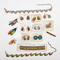 22 pieces enameled copper jewelry matisse renoir collection in bluegreen colors seven pairs ear clips three brooches three bracelets two link necklaces organic and geometric motifs many on o