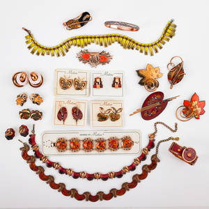 30 pieces enameled copper jewelry matisse renoir collection in autumnal colors nine pairs ear clips six brooches three bracelets three unmarked link necklaces many on cards organic and geomet