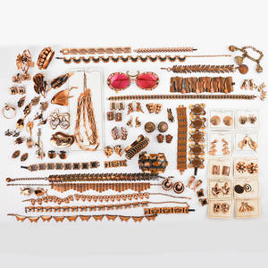 Collection of copper jewelry matisse renoir etc 98 pieces belt eight necklaces one on original card six brooches twelve bracelets 32 pairs of earrings ten on original cards tie clip pai