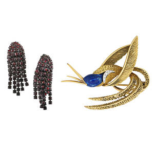 Silver hummingbird brooch  garnet glass earrings french 850 silver gilt hummingbird brooch with lapis and six single cut diamonds approx 06 ct tw ca 1980 marked made in france 2 12 pair o