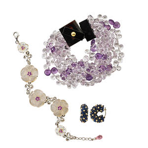 Recent silver or gold fashion jewelry four pieces multistrand amethyst briolette torsade bracelet with shaped amber closure 8 silver bracelet with moonstone or oyster shell and pink sapphire flow