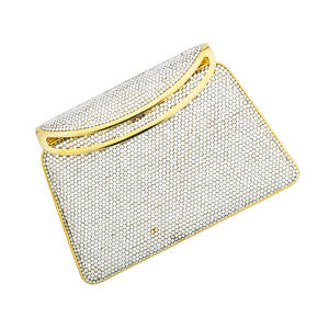 Judith leiber full bead silver crystal minaudiere geometric form gold tone hardware chain leather interior with original accessories registry card dust bag and box 6 14 x 4 14 x 1 12
