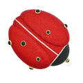 Judith leiber full bead lady bug minaudiere red black and silver crystals bezel set black cabochon spots push clasp closure gold tone hardware chain leather interior and base original access